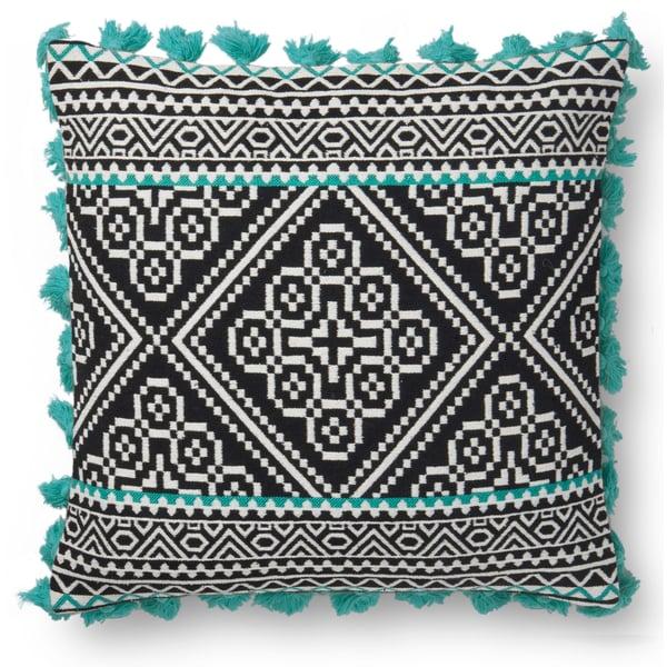 Black, Green Bohemian Pillow