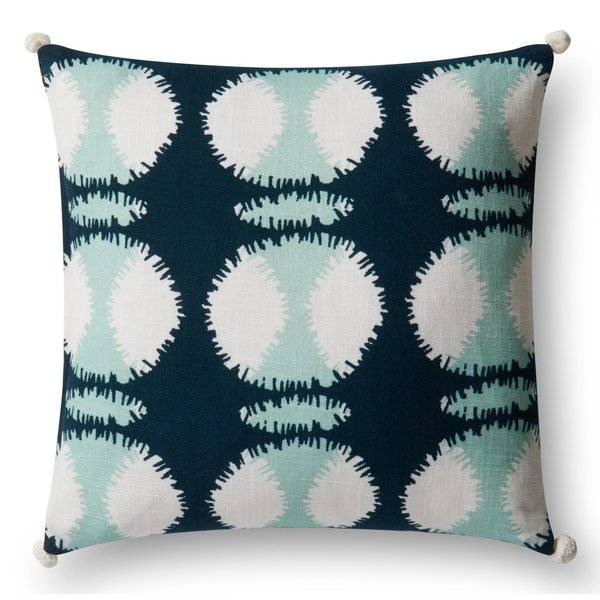 Teal, White Contemporary / Modern Pillow