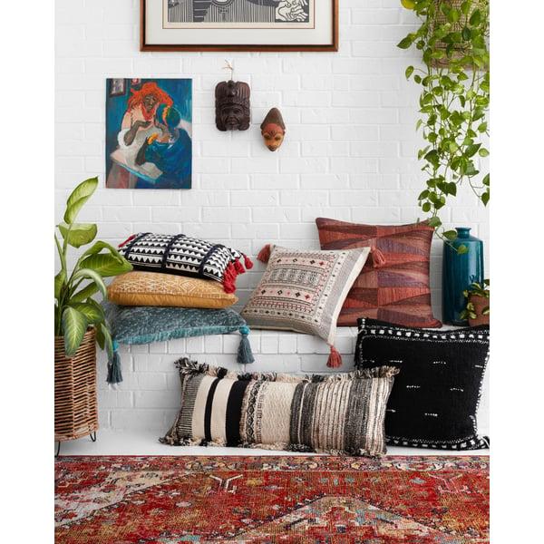Indigo, White Southwestern Pillow