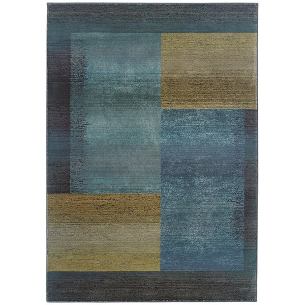 Blue, Gold (1092L) Contemporary / Modern Area-Rugs
