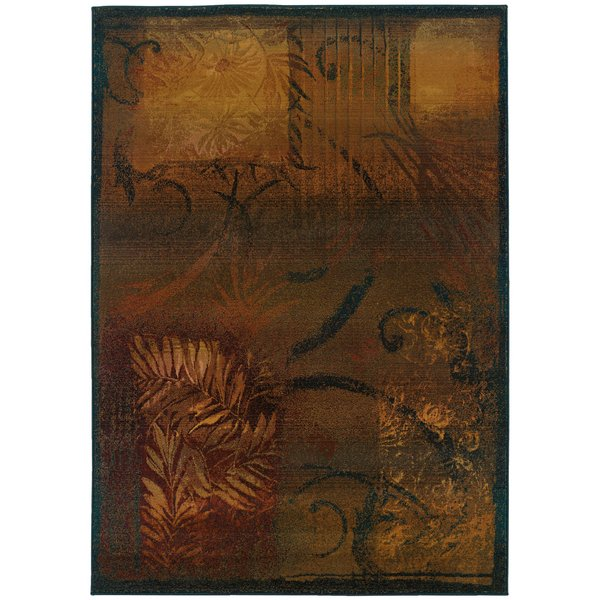 Brown, Gold (1163B) Contemporary / Modern Area-Rugs