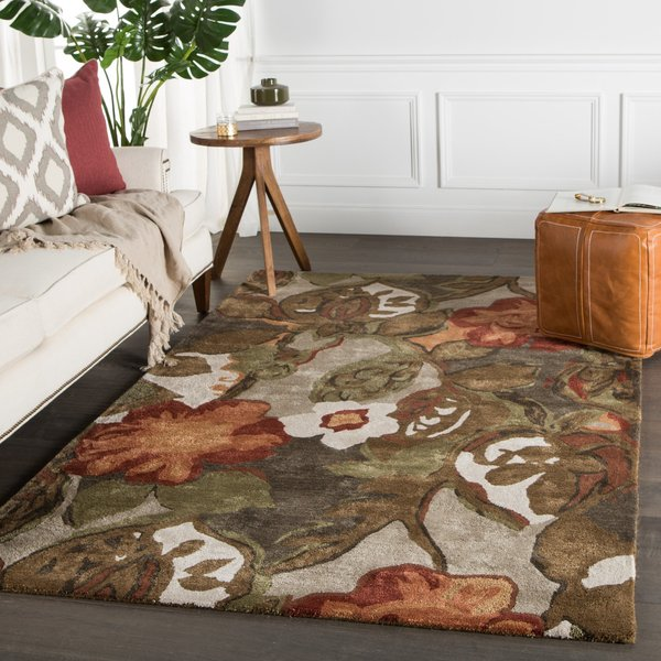 Light Grey, Brown, Red (BL-12) Floral / Botanical Area-Rugs