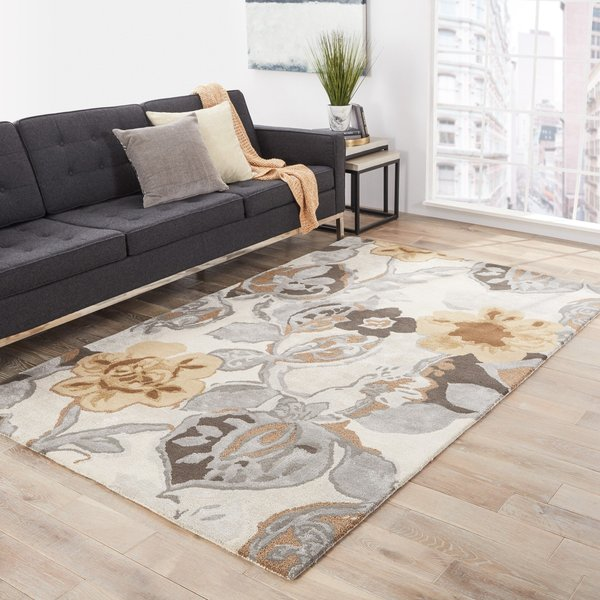 White, Grey, Yellow (BL-65) Floral / Botanical Area-Rugs