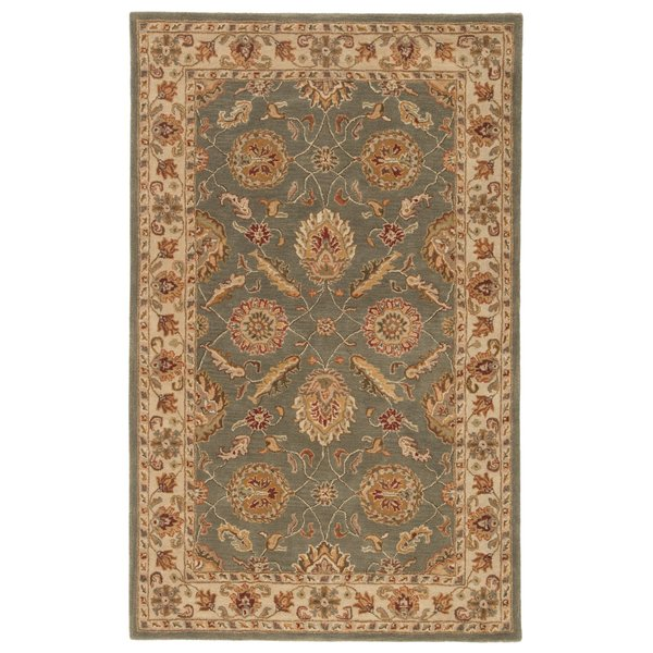 Sage Green, Warm Beige, Rusted Red-Brown (MY-06) Traditional / Oriental Area Rug