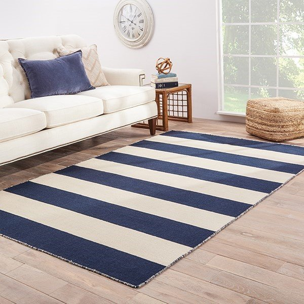 Navy, White (PV-34) Striped Area-Rugs