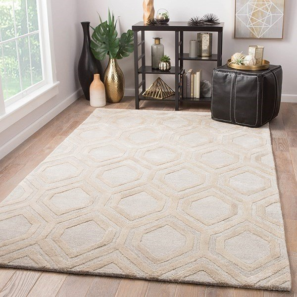 Beige, Cream (CT-117) Contemporary / Modern Area Rug