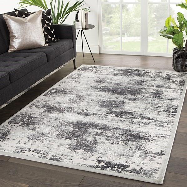 Grey, White (FB-169) Contemporary / Modern Area Rug