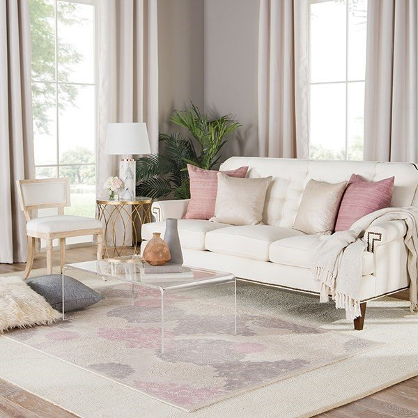 Ivory, Pink (FB-180) Contemporary / Modern Area-Rugs