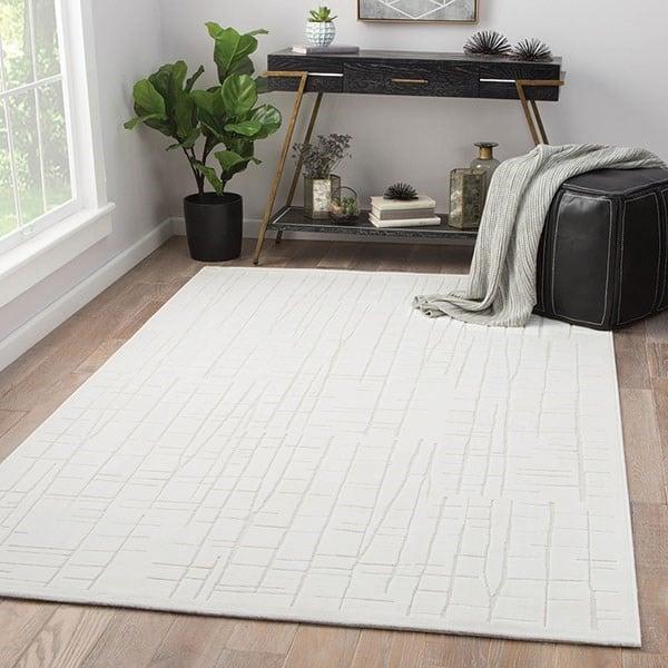 White, Cream (FB-159) Contemporary / Modern Area-Rugs