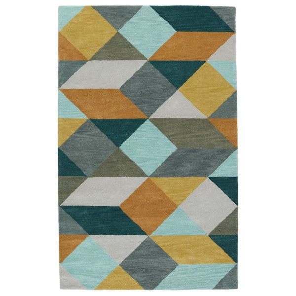 Gold, Teal (LST-16) Contemporary / Modern Area-Rugs