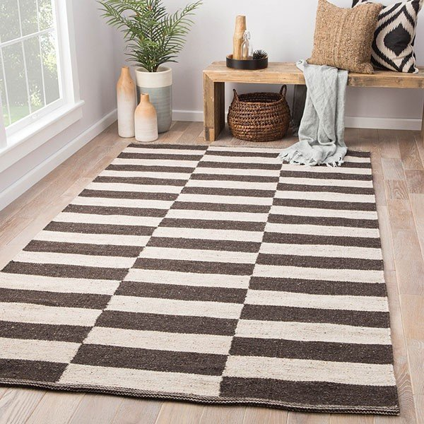 Antique White, Deep Charcoal (SCN-05) Striped Area Rug