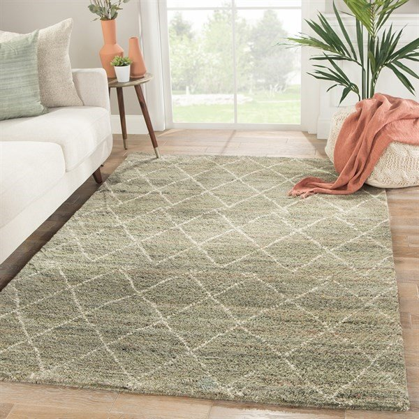 Green, Ivory (ZUI-09) Moroccan Area-Rugs
