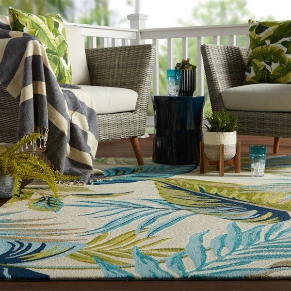 Blue, Green (CAT-52) Floral / Botanical Area Rug