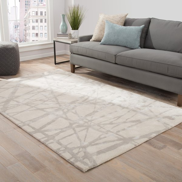 White, Grey (ENK-11) Contemporary / Modern Area-Rugs