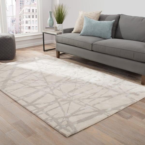 White, Gray (ENK-11) Contemporary / Modern Area Rug