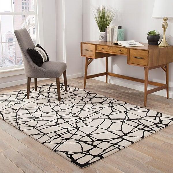 White, Black (ENK-12) Contemporary / Modern Area Rug