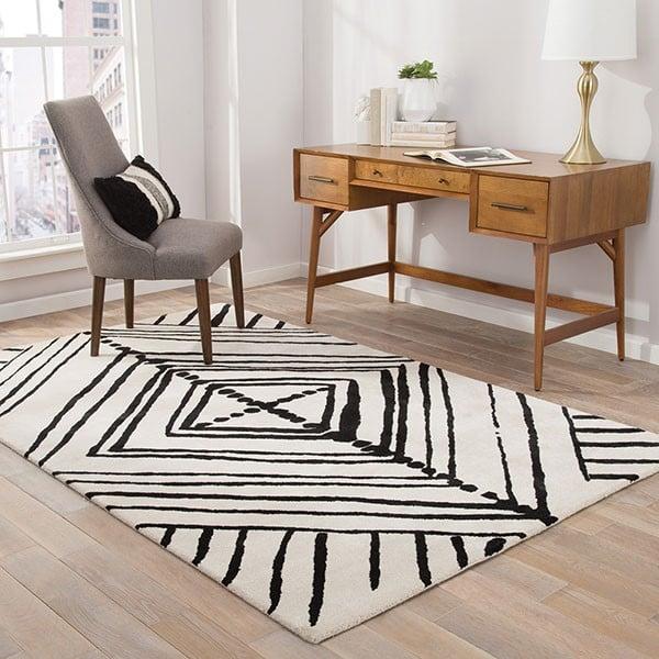 White, Black (ENK-10) Contemporary / Modern Area Rug
