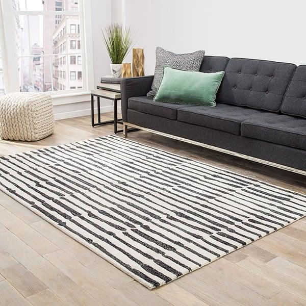 White, Black (ENK-13) Contemporary / Modern Area Rug