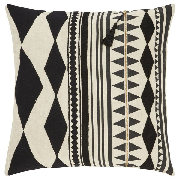 Beige, Black Moroccan pillow