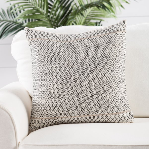 Ivory, Dark Grey (PEY-03) Moroccan pillow
