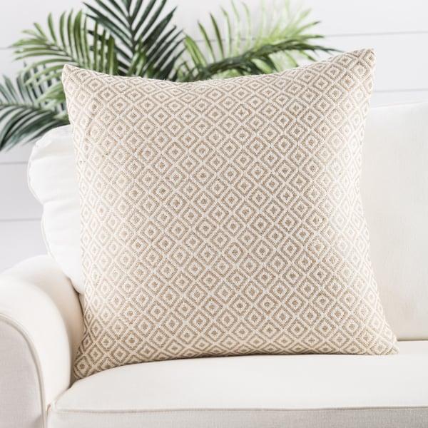 White, Beige Contemporary / Modern Pillow