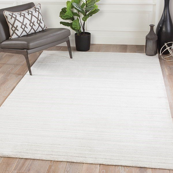 Ivory, Light Gray (LEF-06) Striped Area Rug