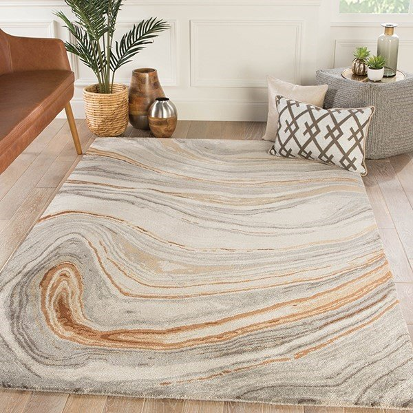 Grey, Copper, Beige (GES-21) Abstract Area Rug
