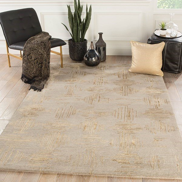 Taupe, Gold (GES-15) Contemporary / Modern Area Rug