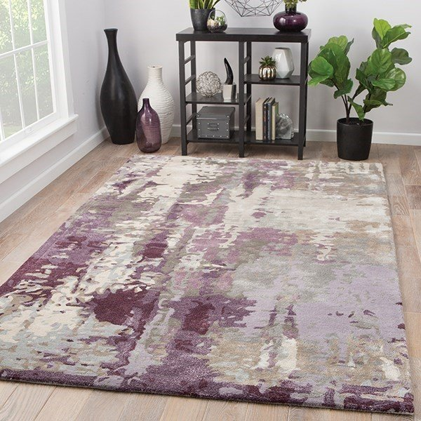 Grey, Purple (GES-09) Abstract Area-Rugs