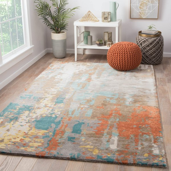 Grey, Blue, Red (GES-08) Abstract Area-Rugs