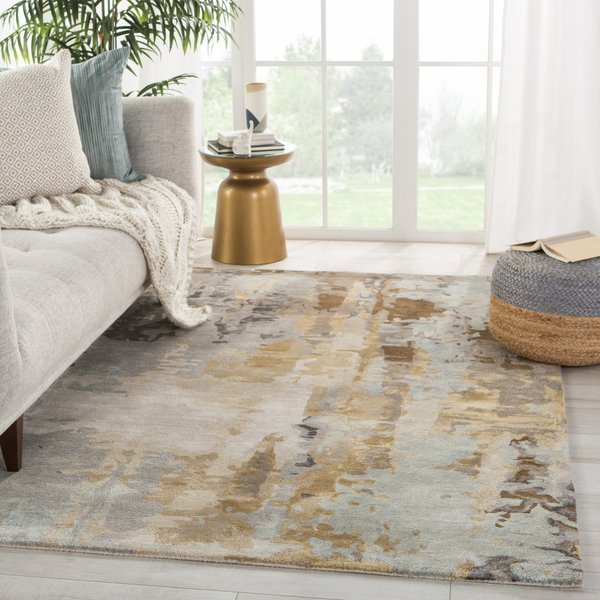 Grey, Gold (GES-44) Abstract Area-Rugs