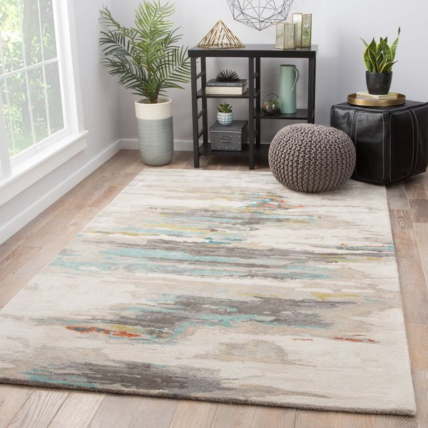 Yellow Grey, Mineral Blue, Dark Brown (GES-06) Abstract Area Rug