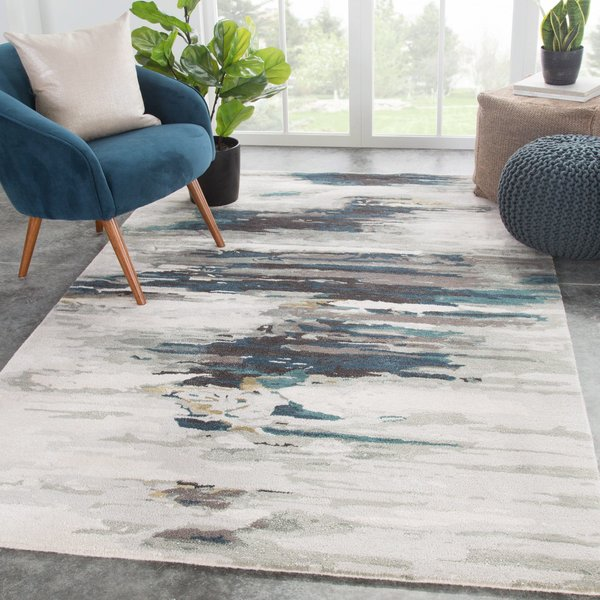 Teal, Gray (GES-20) Abstract Area Rug