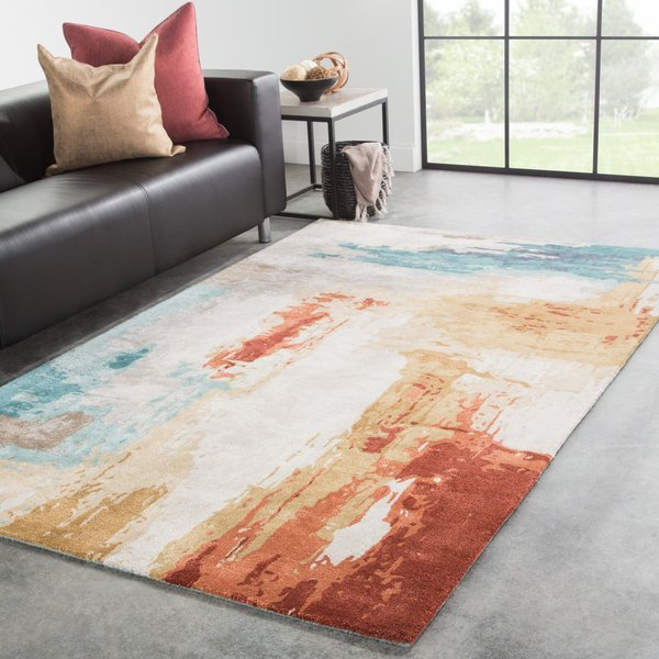Blue, Red (GES-30) Abstract Area Rug