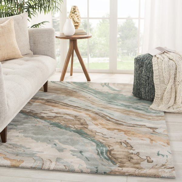 Teal, Grey (GES-37) Contemporary / Modern Area Rug