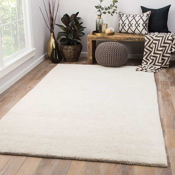 Ivory, Gray (CYB-01) Solid Area Rug