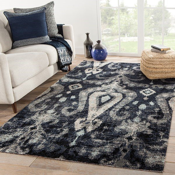 Black, Blue (POL-13) Bohemian Area Rug
