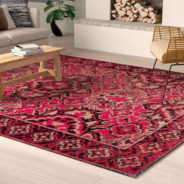 Red, Black (POL-21) Traditional / Oriental Area Rug