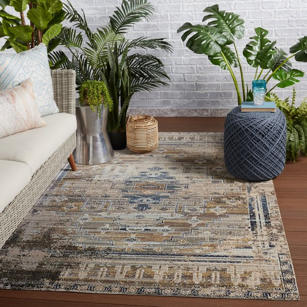 Tan, Blue (POL-42) Vintage / Overdyed Area-Rugs