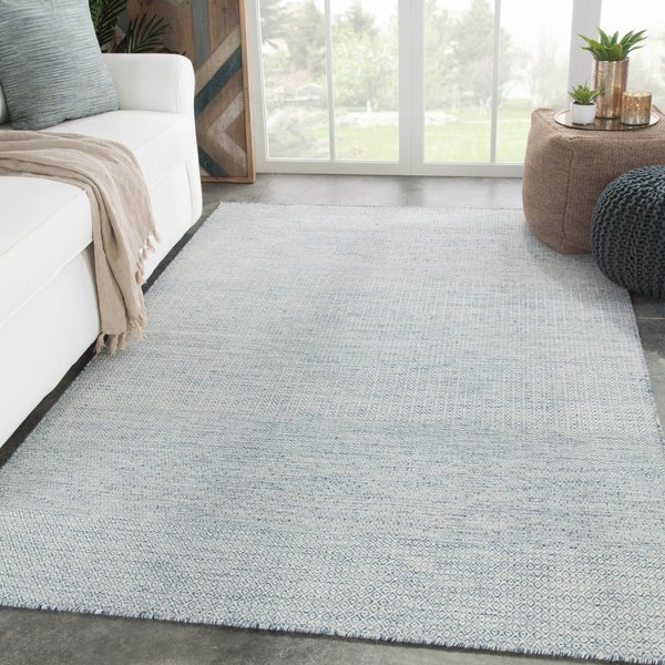 Light Blue, Ivory (POE-05) Striped Area Rug
