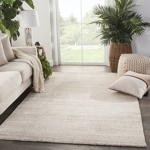 Beige, Ivory (TEI04) Striped Area Rug