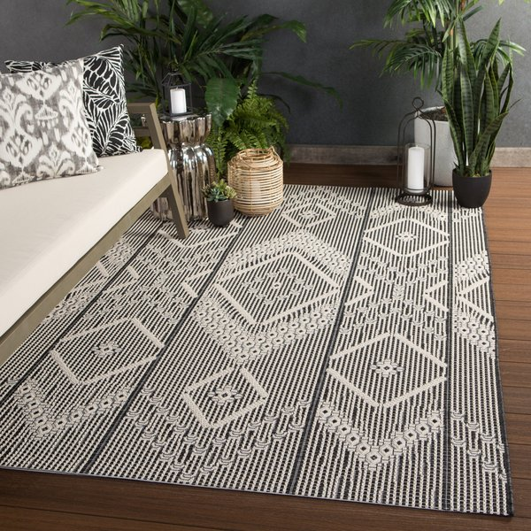 Dark Grey, Cream (MOC-05) Contemporary / Modern Area Rug