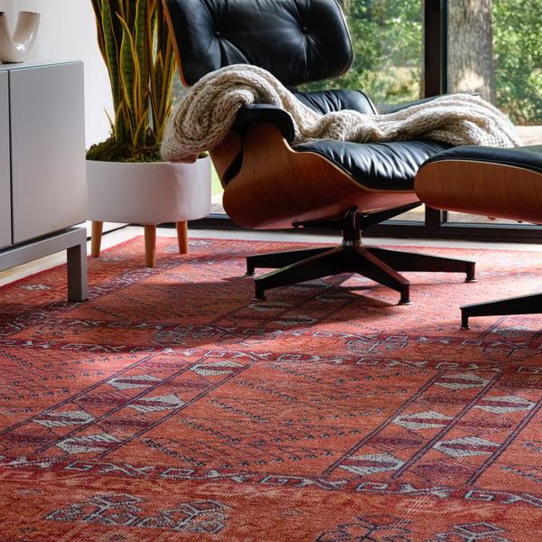 Red, Blue (GLT-02) Vintage / Overdyed Area Rug