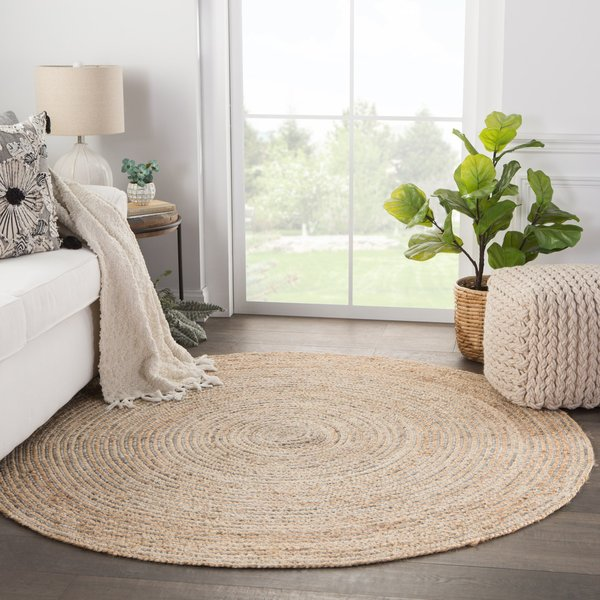 Beige, Grey (IDS-01) Natural Fiber Area Rug