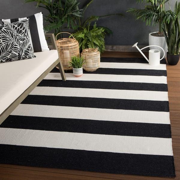 Black, Ivory (LAN-06) Striped Area-Rugs