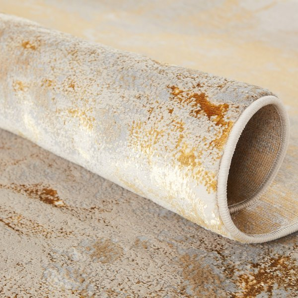 Grey, Taupe, Gold (CTY-02) Contemporary / Modern Area Rug