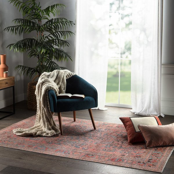 Pink, Blue (KND-07) Bohemian Area Rug