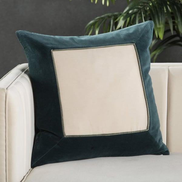 Teal, Cream (EMS-01) Contemporary / Modern pillow