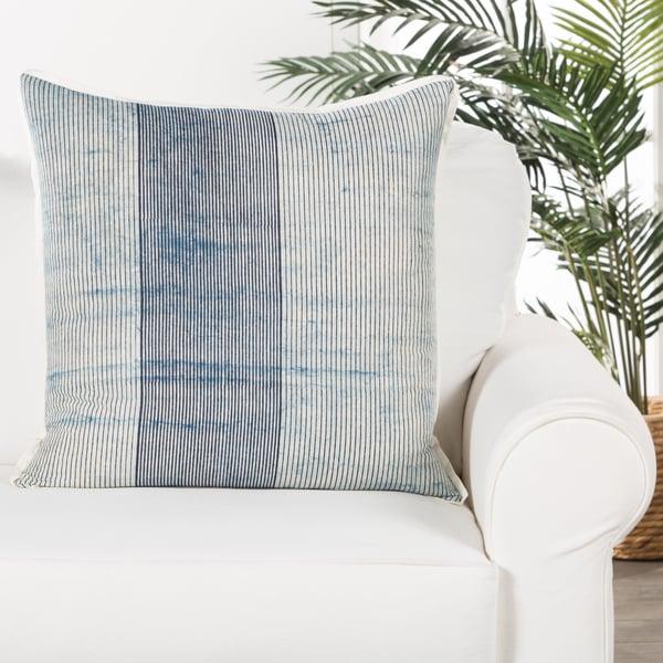 Blue, White (ROV-03) Striped pillow