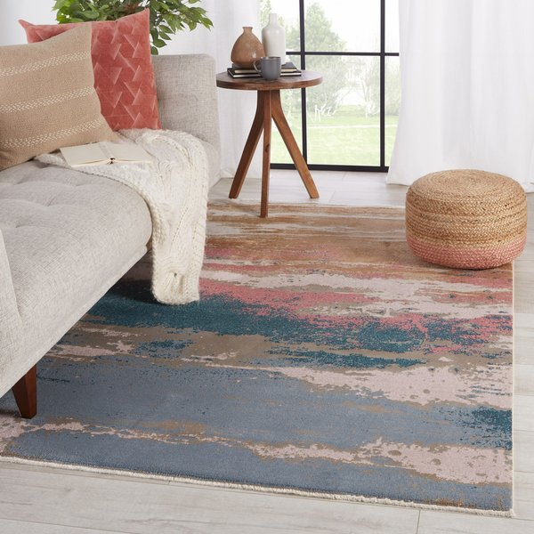 Teal, Pink, Gold (MYD-18) Contemporary / Modern Area Rug